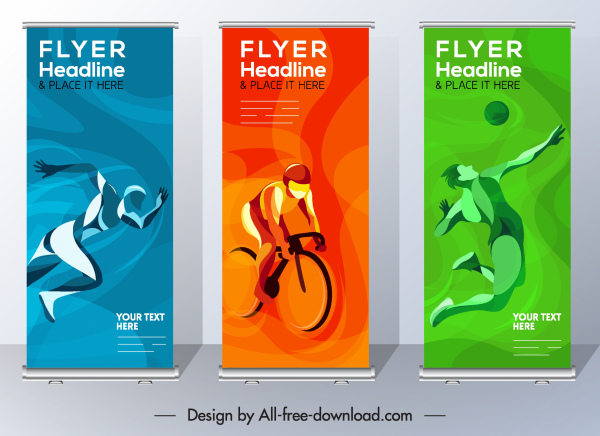 sports flyer templates athletic icons colored motion sketch