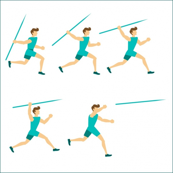 sports human icons javelin athletic various gestures design