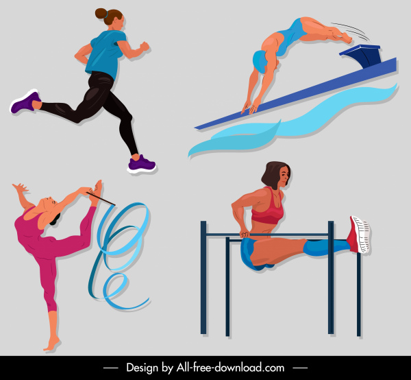 sports icons athletic motion sketch cartoon design