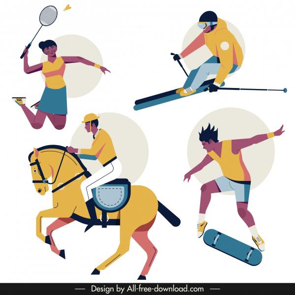 sports icons badminton ski jockey skating sketch