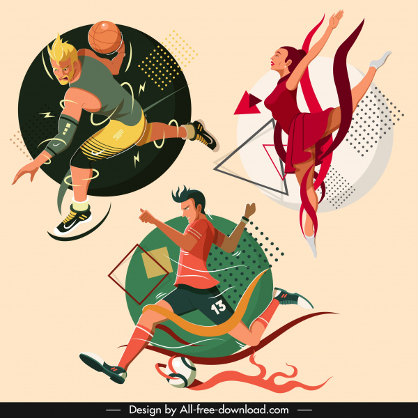 sports icons basketball soccer ballet sketch cartoon characters