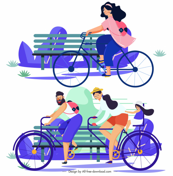 sports icons bicycling sketch colored cartoon characters
