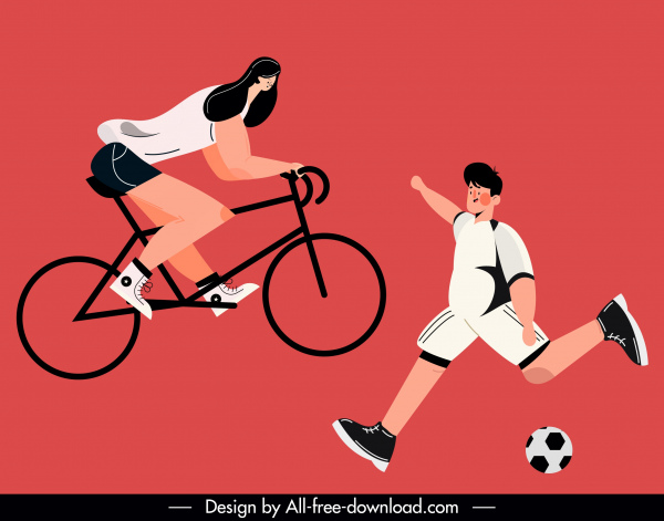 sports icons cycling soccer sketch cartoon characters