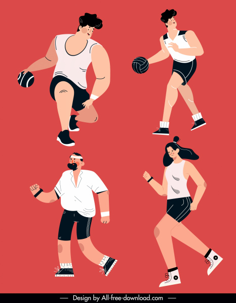 sports icons motion man woman sketch cartoon characters