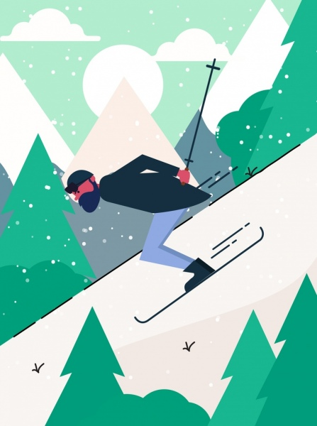 sports painting skiing man snow mountain icons