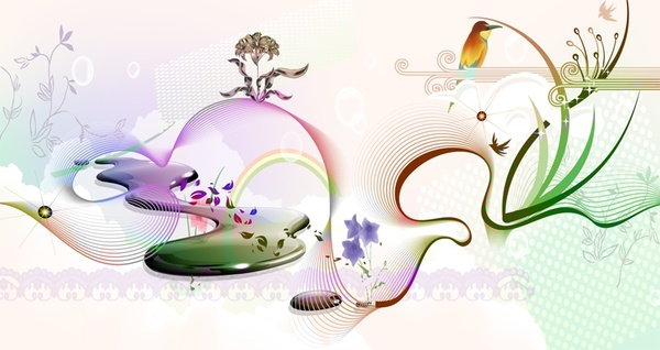 spring background colorful curves and symbols decoration