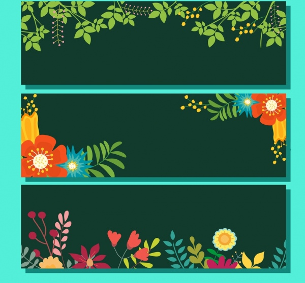 spring background collection green leaves colorful flowers ornament
