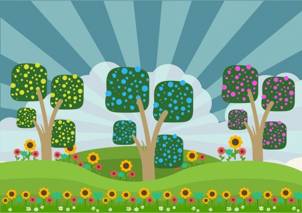 spring background colorful cartoon design trees floral ornament