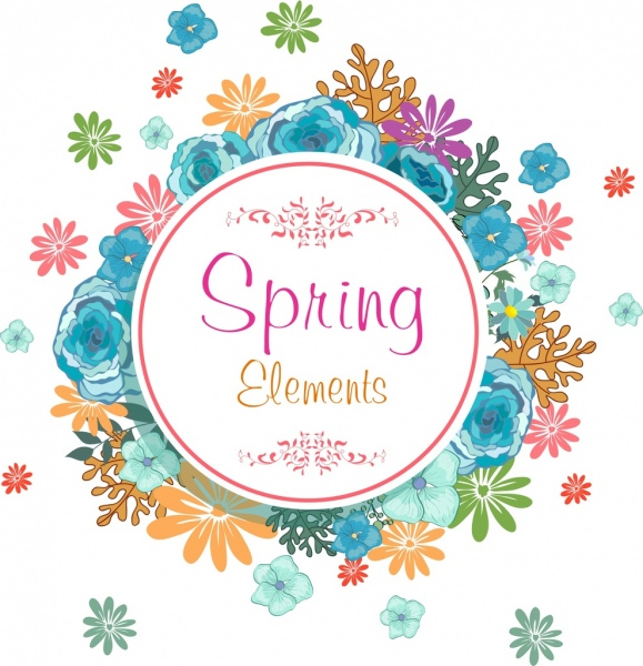 spring background colorful flowers circle decor
