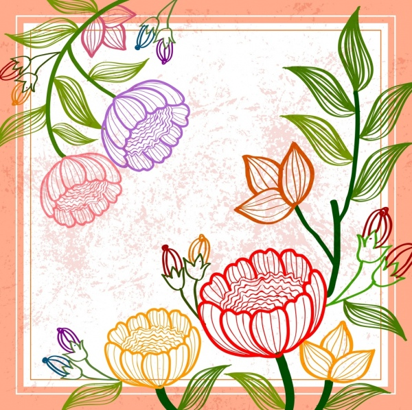 spring background colorful flowers leaves sketch