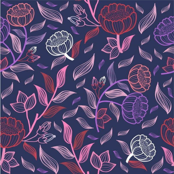 spring background colorful flowers leaves sketch seamless style