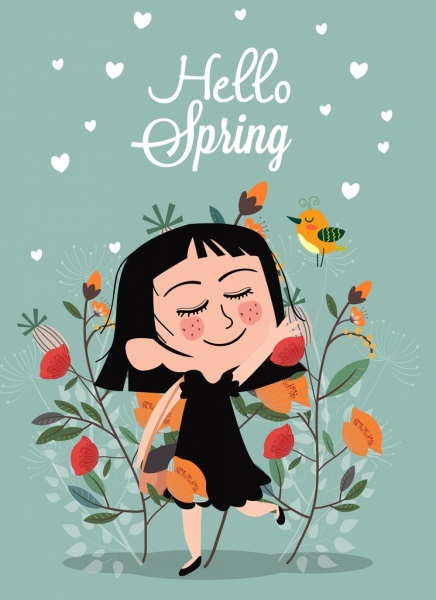 spring banner cute girl flowers icons colored design