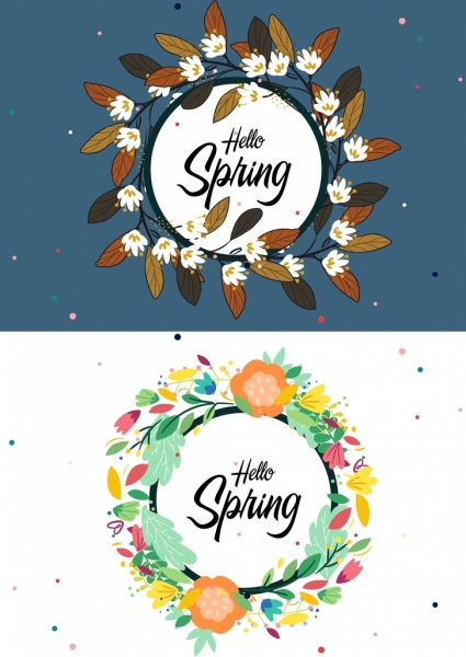 spring banner flowers leaves decor circle layout