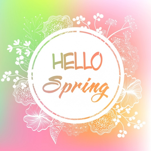 Spring banner flowers sketch circle decoration Free vector ...