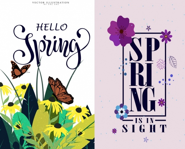 spring banner sets flowers butterflies icons decoration