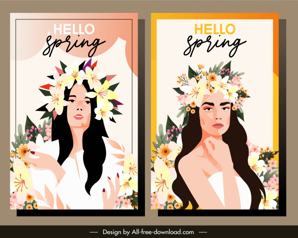 spring banner templates young lady sketch flowers decor