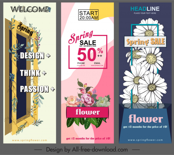 spring banners colored classic floral decor vertical design