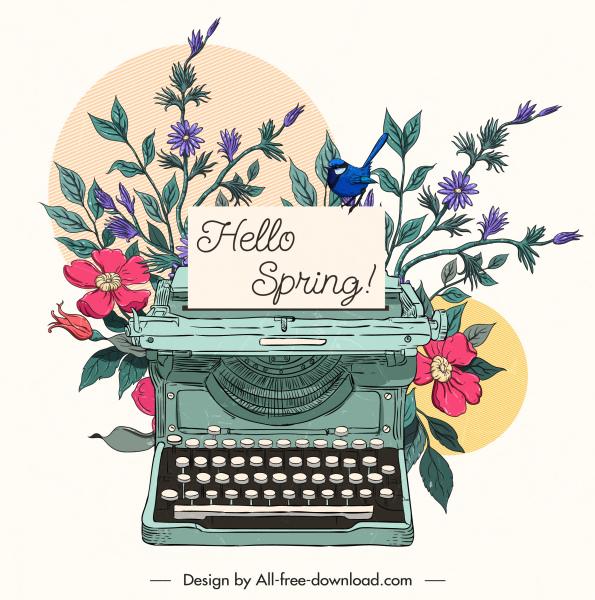 spring card background classic floras typewriter sketch