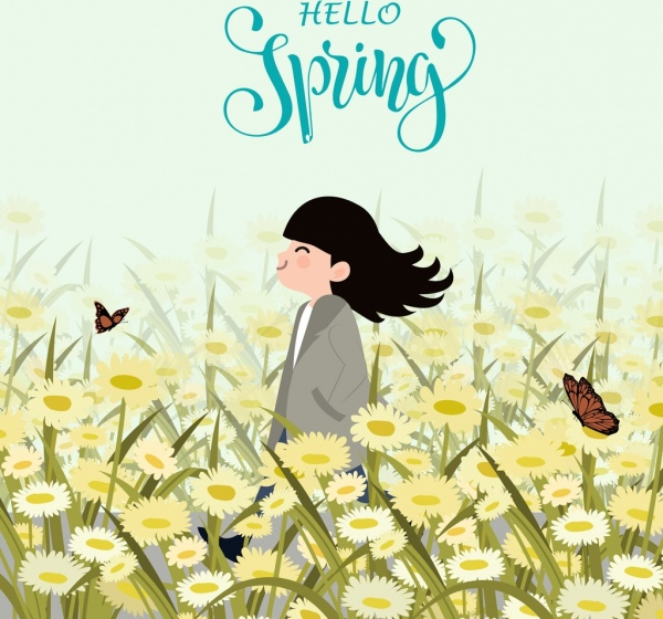 spring drawing girl flower field icons colored cartoon
