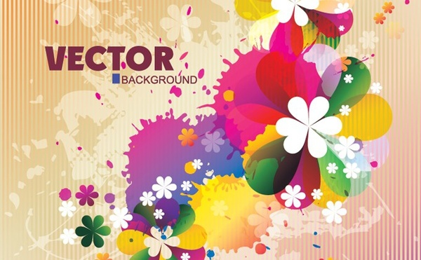 spring background grunge colorful design flat flowers decoration