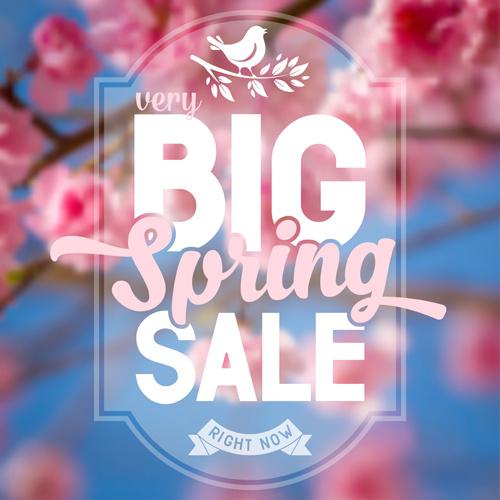 spring flower blurred background vector set