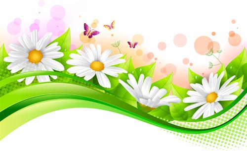 Spring flower with grass art background free vector in encapsulated spring flower with grass art background mightylinksfo