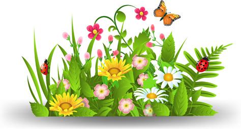 spring flower with grass art background