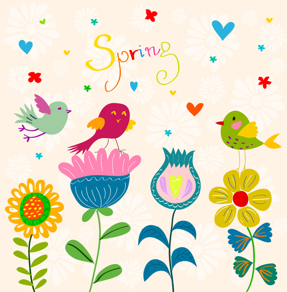 spring flowers and birds background