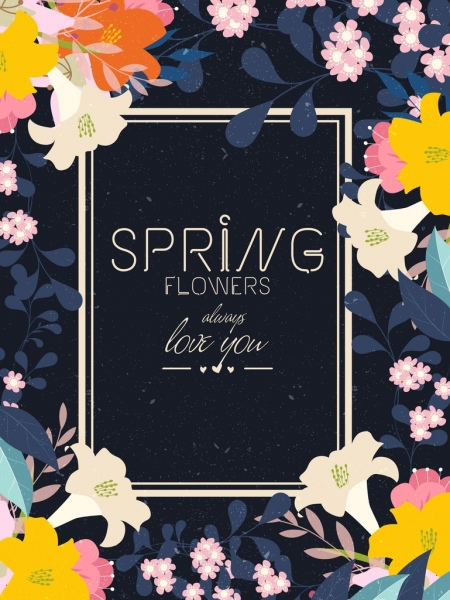 spring flowers background colorful retro decoration frame texts