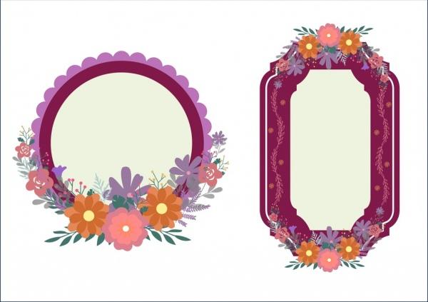 spring flowers frames sets colorful geometric design