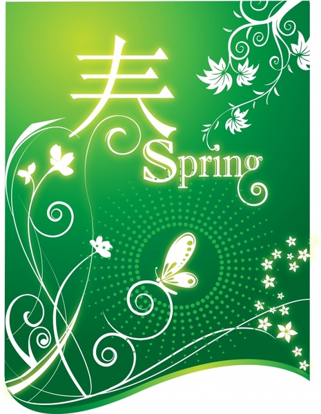 spring background flowers butterfly pictographic decor green design