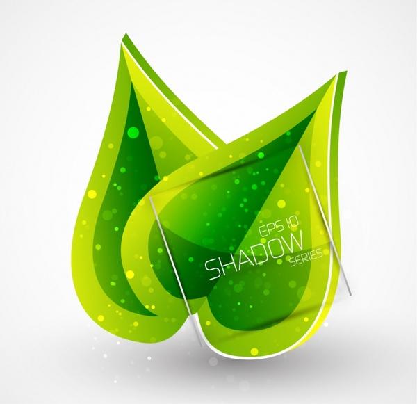 leaf background modern green emblem sketch
