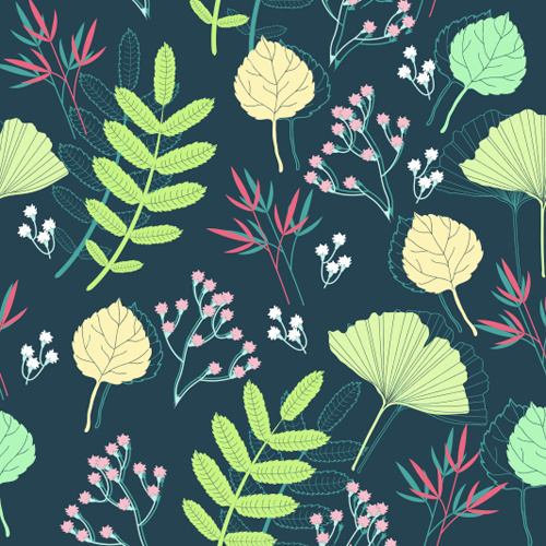 spring leaf and flower seamless pattern vector