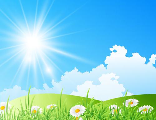 Landscape Illustration Vector Free: Spring Nature Landscapes Vectors Free Vector In