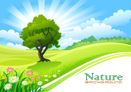 spring nature landscapes vectors