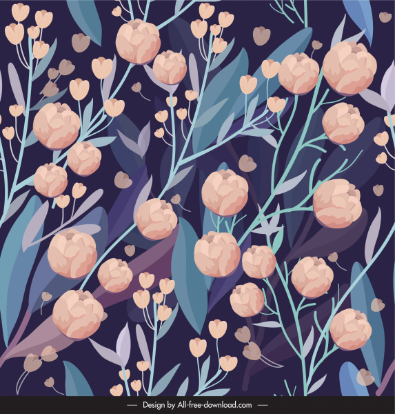 spring painting blooming flowers sketch dark colorful classic