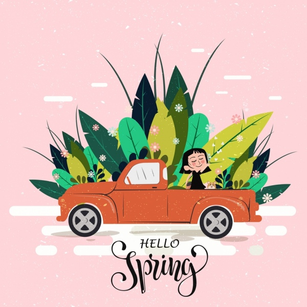 spring poster car girl natural plants icons