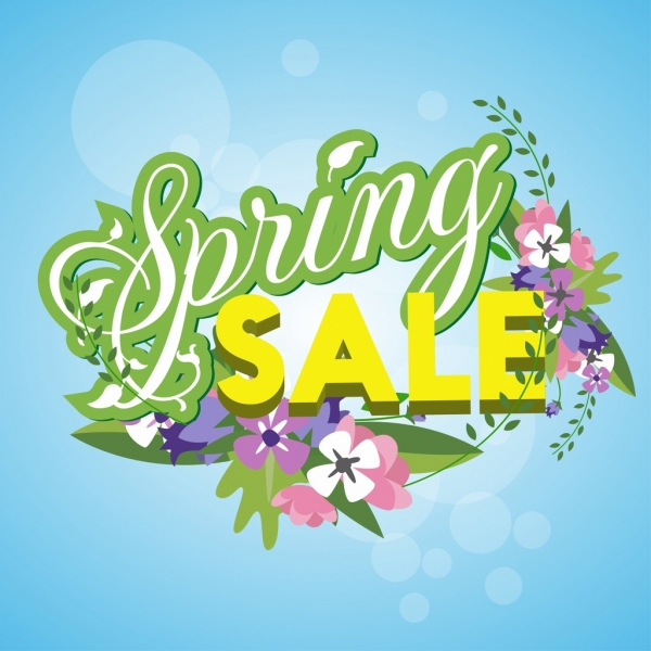 spring sale banner colorful bright flowers