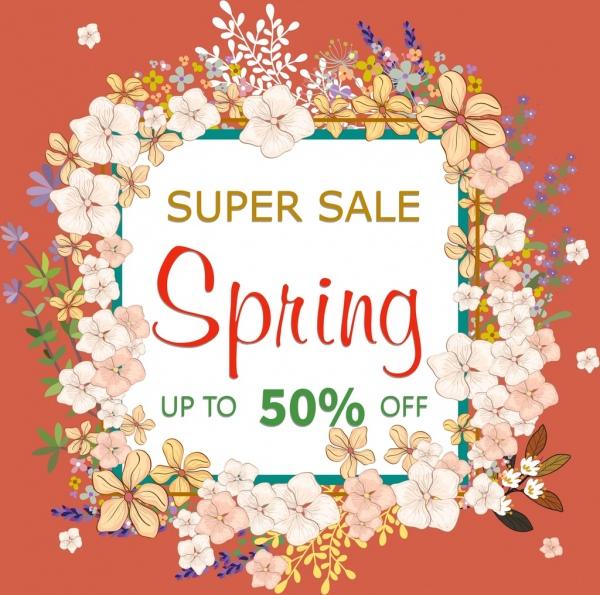 spring sale banner flowers frame decoration