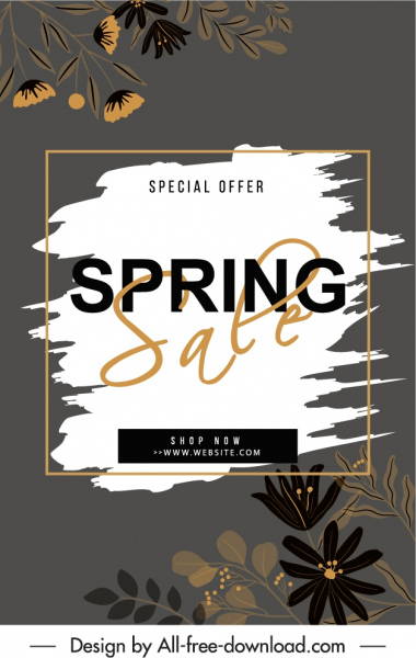spring sale banner template dark classic grunge floral decor