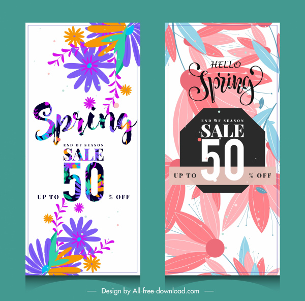 spring sale banners colorful flat flowers leaf decor