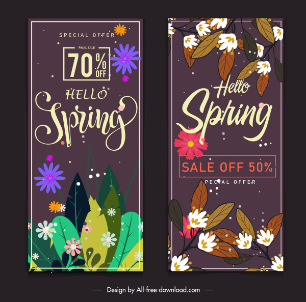 spring sale banners templates colorful blooming flowers decor