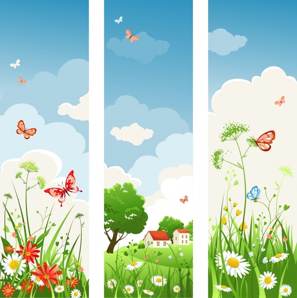 spring scenery background templates colorful cartoon sketch