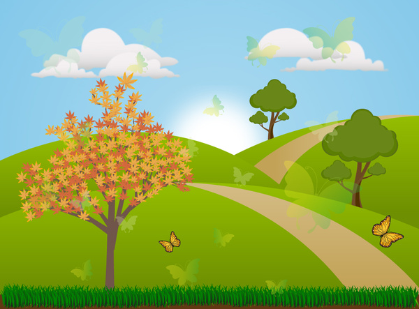 spring scenery vector illustration with colored vignette style
