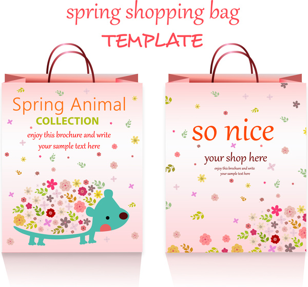 Spring shopping bags template design with cute style Free vector in ...