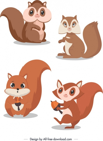 squirrel icons cute cartoon characters colored design