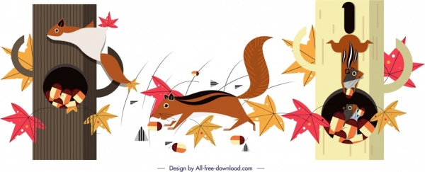 squirrels animals painting colorful cartoon sketch
