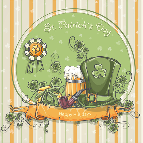 st patrick day hand drawn vector background