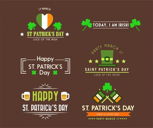 st patricks day logo design elements in flat design