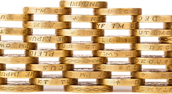 stacked golden coins